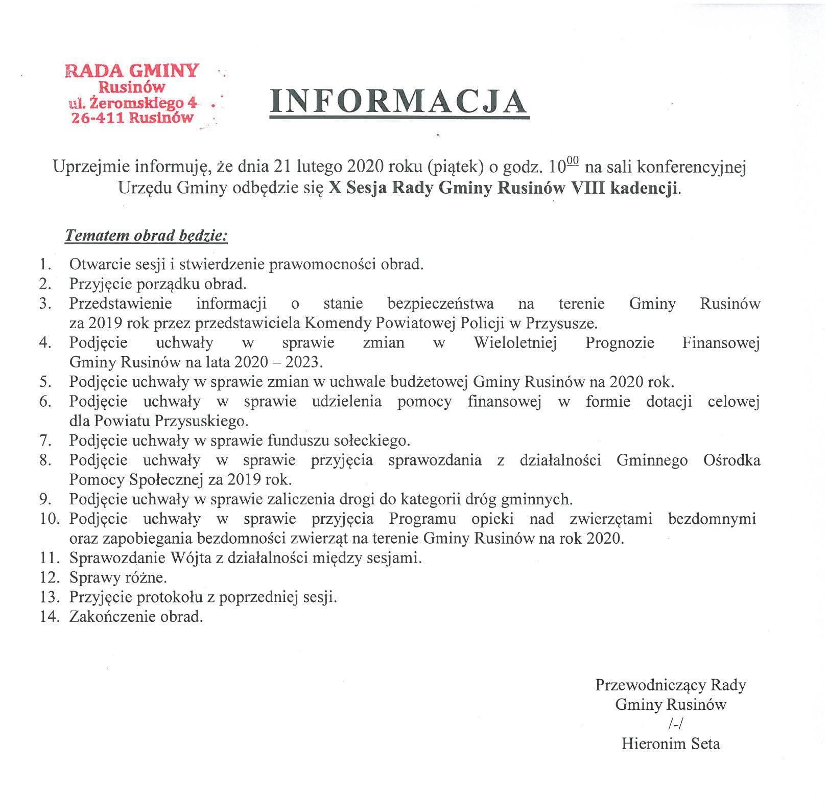 Informacja o X sesji Rady Gminy Rusinów VIII kadencji