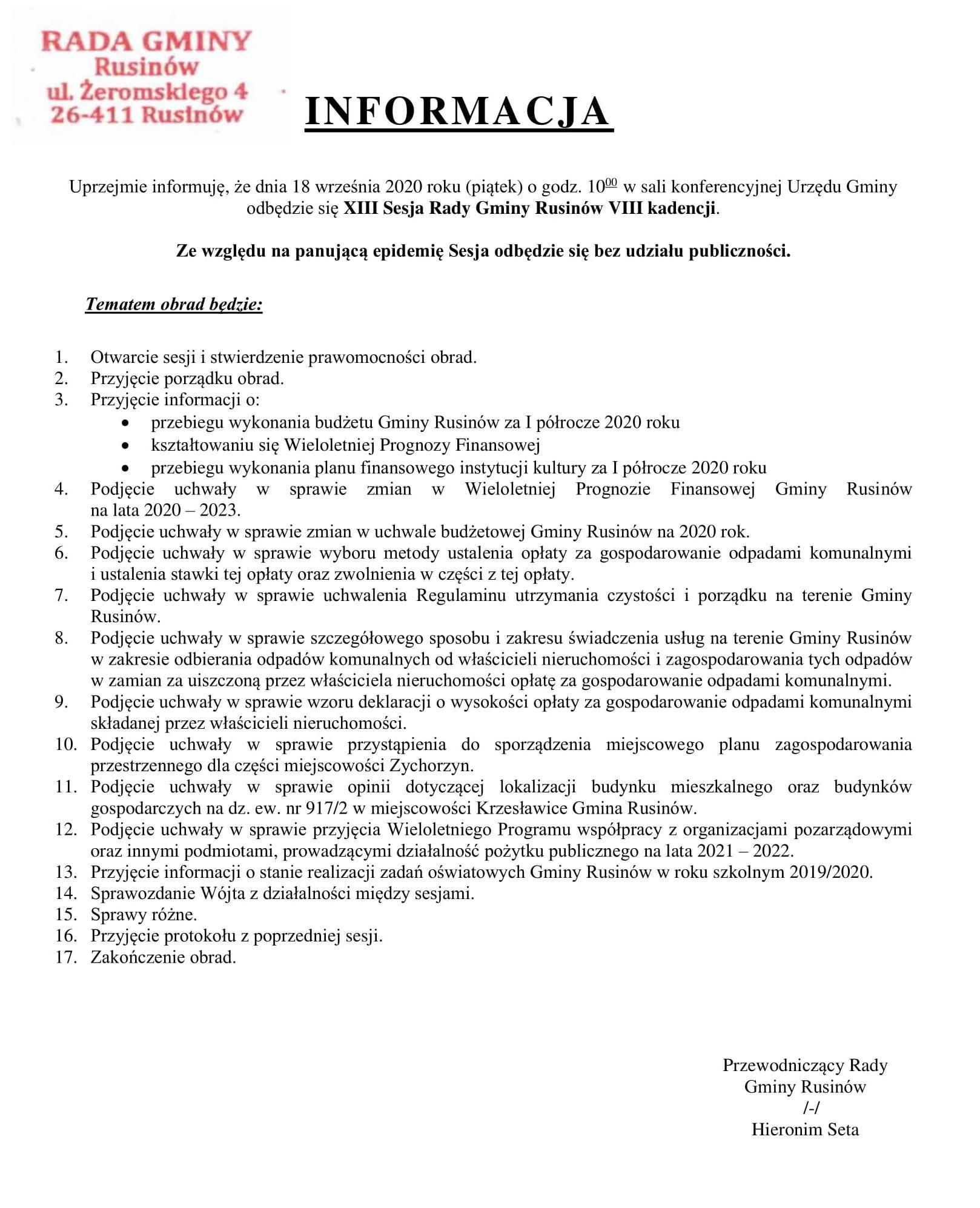 Informacja o XIII sesji Rady Gminy Rusinów VIII kadencji